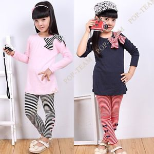 Girls Kids Long Sleeve Shirts Bow Striped Leggings Suit Set 3 8Y Outfit FT40