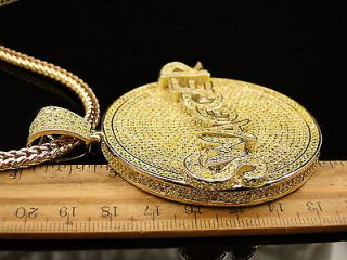 New Mens Yellow Gold Finish Canary Simulated Diamond Swagger Charm Chain Set