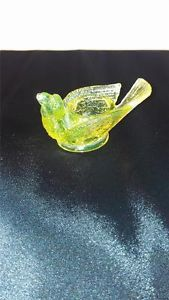 Vintage Degenhart Canary Yellow Vaseline Glass Bird w Berry Open Salt DIP