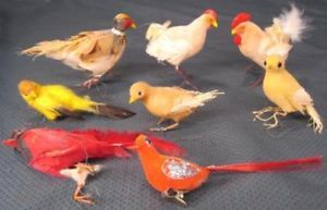 Pheasant Cardinal Canary Goldfinch Chicken Feather Bird Christmas Tree Ornaments