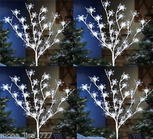 "New s 4 Solar Snowflake 40"" Tree Outdoor Lights Christmas Lawn Ornament Holiday"