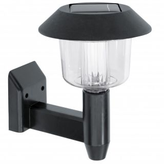 New Black Silver Solar Powered Fence Wall Lights LED Outdoor Garden Lighting