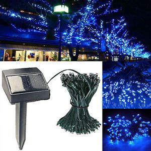 Solar Power Blue LED Light 12M 100 LED String Lights Outdoor Evening Party Decor