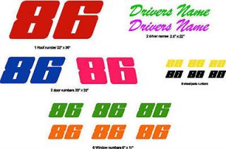 Race Car Vinyl Decal Number Kit Racing Stickers