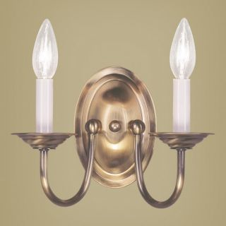 New 2 Light Colonial Candle Wall Sconce Lighting Fixture Antique Brass Livex