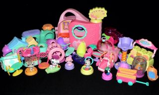 Huge Lot of Littlest Pet Shop LPS Carriers Houses Cages Beds Accessories