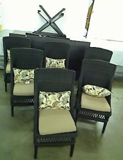 Hampton Bay Woodbury 7 Piece Patio Dining Set with Textured Sand Cushions