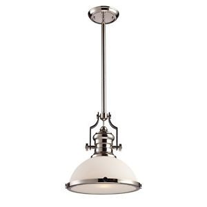Landmark 1 Light Nautical Pendant Lighting Fixture Polished Nickel White Glass