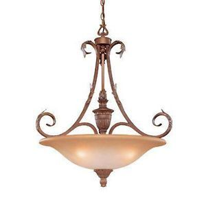 Hampton Bay Cortez 3 Light Double French Scavo Glass Pendant Chandelier Bronze