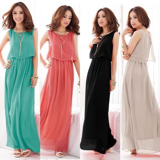 New Lady Womens Bohemia Boho Cocktail Maxi Evening Sleeveless Pleated Long Dress