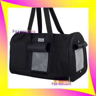 10 13lb Terrier Pet Dog Cat Travel Vet Pod Bag Black Canvas Carrier Tote Crate