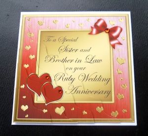 Sister Brother in Law Ruby 40 Years 40th Wedding Anniversary Card