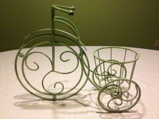 Green Bicycle Plant Holder Metal Indoor Outdoor Decor Shabby Chic Plant Stand