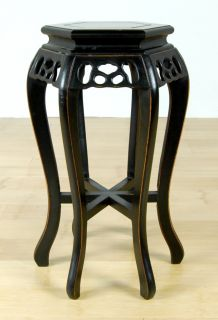 Black Lacquer Wood Stand Plant Display Side End Table