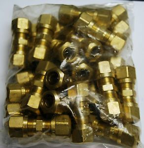 "Brass Fittings Dot Air Brake Union Compression Fitting Tube OD 3 8"" Qty 25"