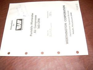 Worthington Air Compressor Portable 1866 Up 160 CFM Monorotor Service Manual
