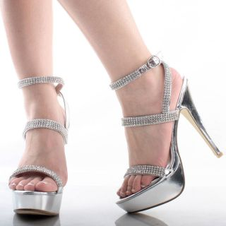 Silver Ankle Strap Metallic Rhinestone Dance Womens High Heel Platform Shoes 7