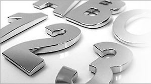 Chrome Number Symbol Auto Emblem Style 3 Indoor Outdoor Oversized 3D Curvature