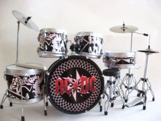 Miniature Drum Set Phil Rudd Angus Young AC DC Free Drum Keyring