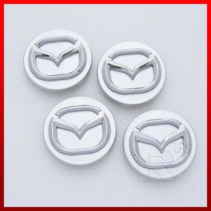 Set of Silver Wheel Center Cap w Chrome Mazda Logo 56mm 57mm 2 3 16 2 1 4