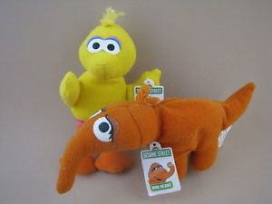 "Sesame Street Snuffy Big Bird Mini Bean Best Friends 4"" Plush Kelloggs Premium"