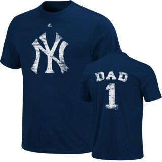 New York Yankees Navy Dad 1 Primary Logo Name and Number T Shirt