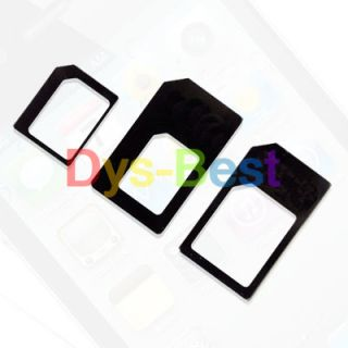 3 Adapters Nano Sim to Micro Sim Nano Sim to Sim Card Adapter for iPhone 5 4S
