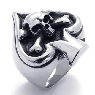 Mens Biker Stainless Steel Gothic Skull Playing Card Ace Ring All Size AE21421