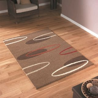 Large XL Thick Modern Chocolate Brown Beige Cream Ivory Red Rug 160 x 230cm