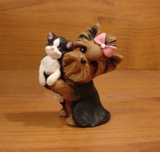 Original Yorkie Yorkshire Terrier Kitty Cat Dog Sculpture Claydogz Mandyo OOAK
