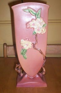 "Roseville Pottery Large Apple Blossom Vase 390 12"" U s A"
