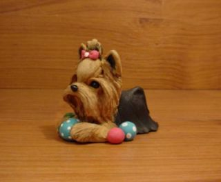 Original Yorkie Yorkshire Terrier Ball Dog Sculpture Claydogz Mandyo OOAK