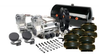 Viair 480C Chrome Dual Kit w 5 Gallon Tank Air Lift Dominator 2500 Bags
