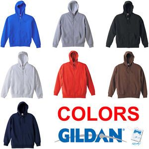 New Gildan Heavy Blend 50 50 Zip Hoodie Sweatshirt Blank Plain Unisex Hoody