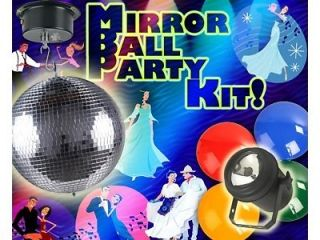 "8"" Disco Mirror Ball Party Pack Light Motor DJ Dance Party Wedding Rave Club"