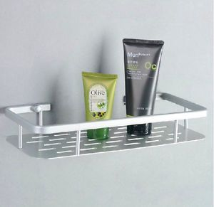 Alumimum Single Tier Square Wall Mount Shower Caddy Basket Cosmetic Storage