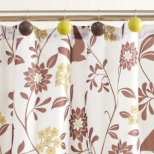 Floral Birds Brown White Fabric Shower Curtain 12 Shower Curtain Hooks New