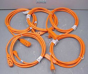 Lot 5 New 9ft Heavy Duty Extension Cord 14 3 Outlet 15A Power Cable