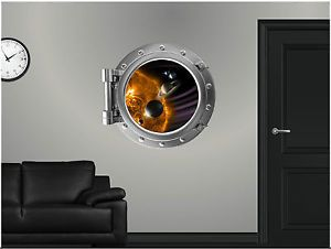 "24"" Portscape Instant Space Window Solar System 1 Wall Graphic Porthole Decal"