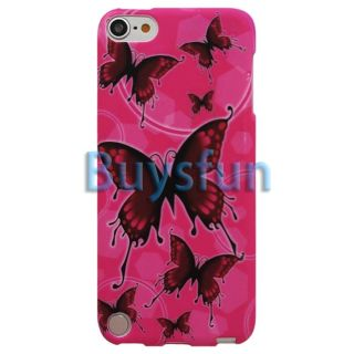 Hot Pink Butterfly Gel Cover Case for Apple iPod Touch 5 5g 5th