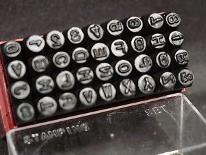 "1 8"" Steel Metal Letter Alphabet Number Stamping Stamp Punch Set Plastic Case"