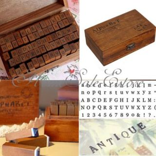 70pcs Multi Purpose Alphabet Letter Number Wood Rubber Stamps Set Wooden Box