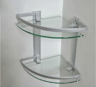 New Luxury Glass Alumimum Wall Mounted Bathroom Shower Shelf Glass Tiers