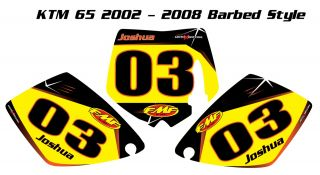 Custom Number Plate Graphics for KTM 65 02 08 Barbed