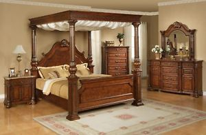 Bedroom Furniture Set w King Four Post Canopy Bed