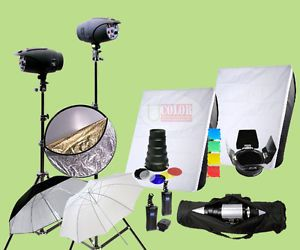 700W Strobe Studio Flash Lighting Kit 2 Light Photography