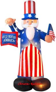 6ft Gemmy Airblown Inflatable Uncle Sam with God Bless America Sign and Flag