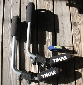 Pair of Thule Kayak Roof Rack Carriers Cradles with Strap