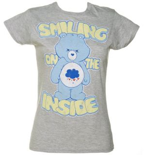 Official Ladies Grey Grumpy Bear Smiling on The Inside Care Bears T Shirt