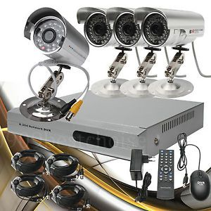 4CH CCTV DVR Kit Motion Detection Phone View Security System Free DDNS IR Camera